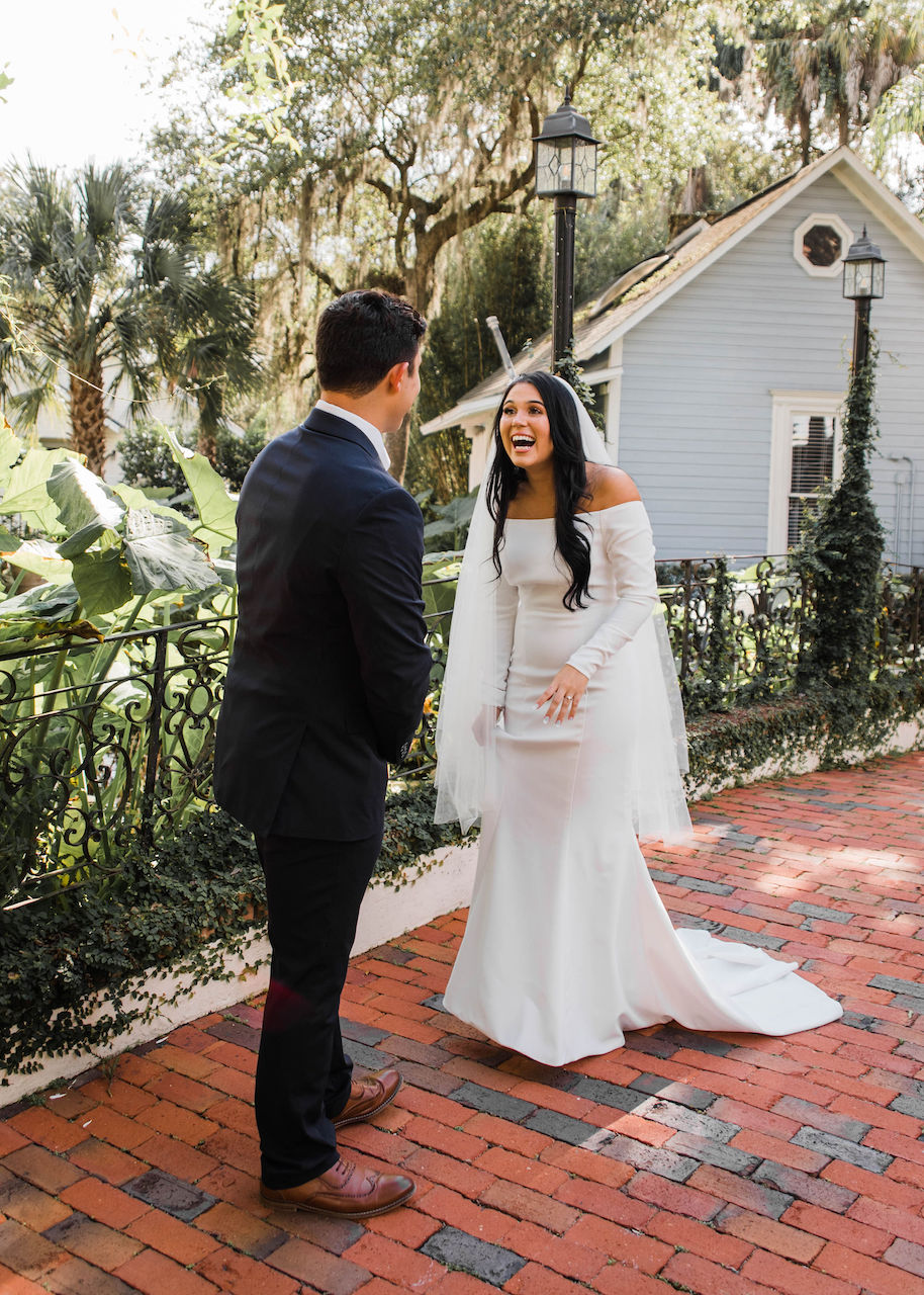bride and groom first look at their intimate and romantic wedding in florida
