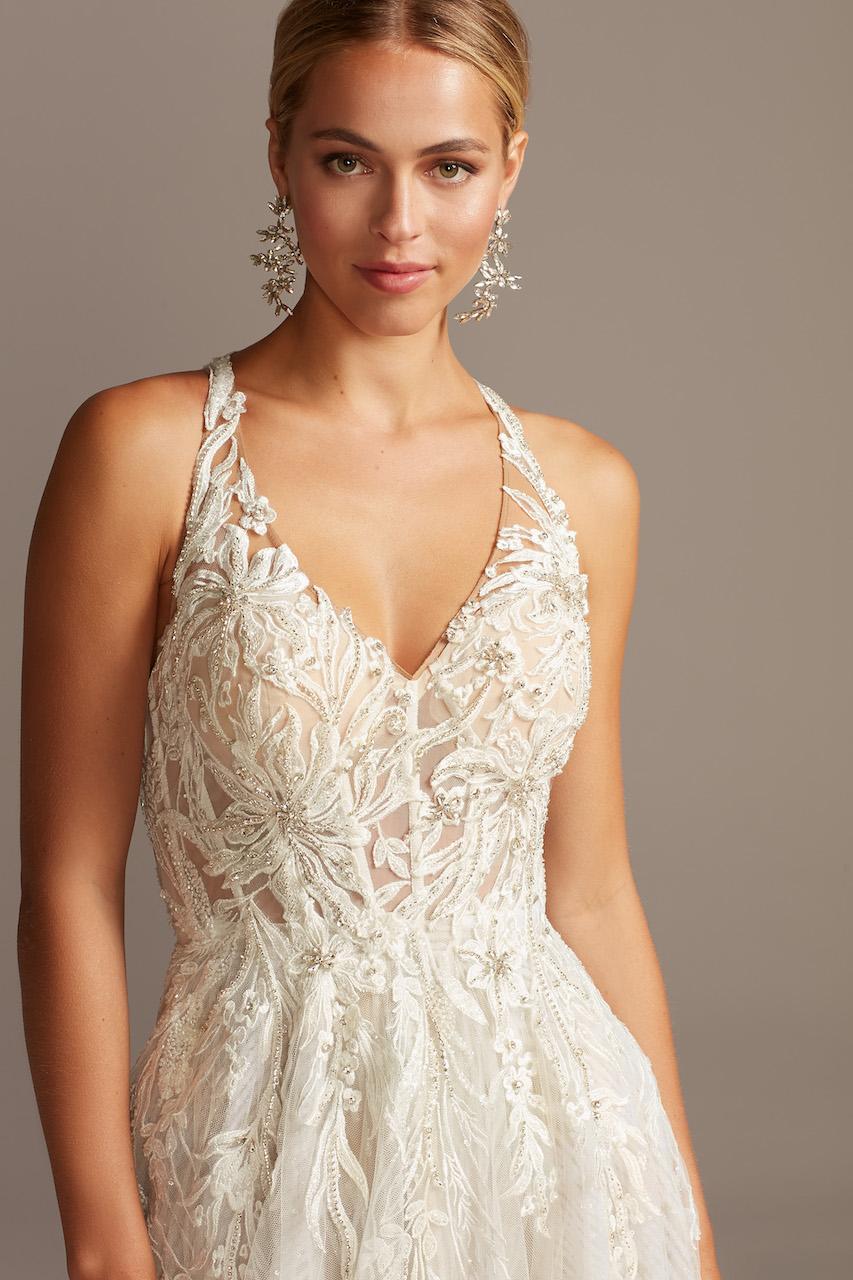 Bride wearing Floral Applique Open Back Tulle Wedding Dress