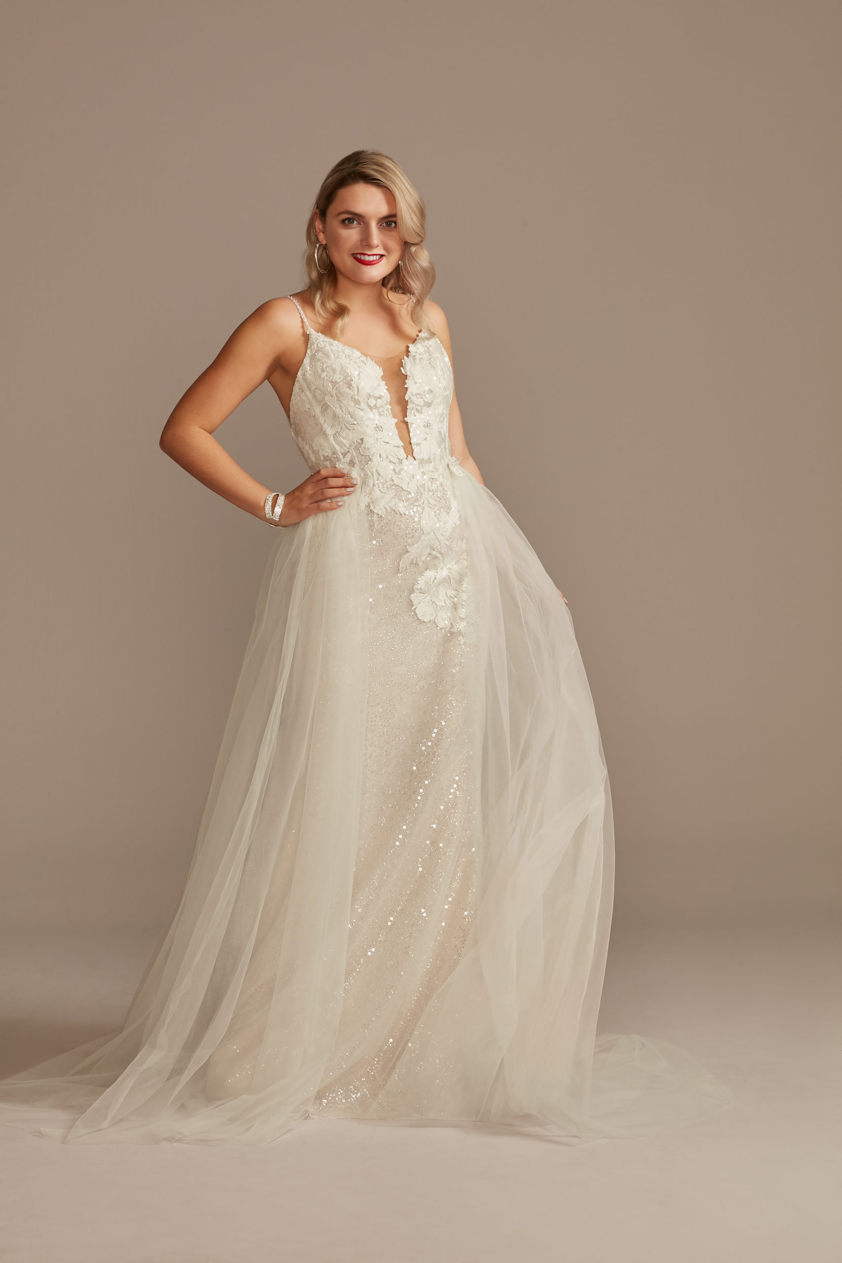 bride wearing Sequin Applique ethereal Wedding Dress with Removable Train