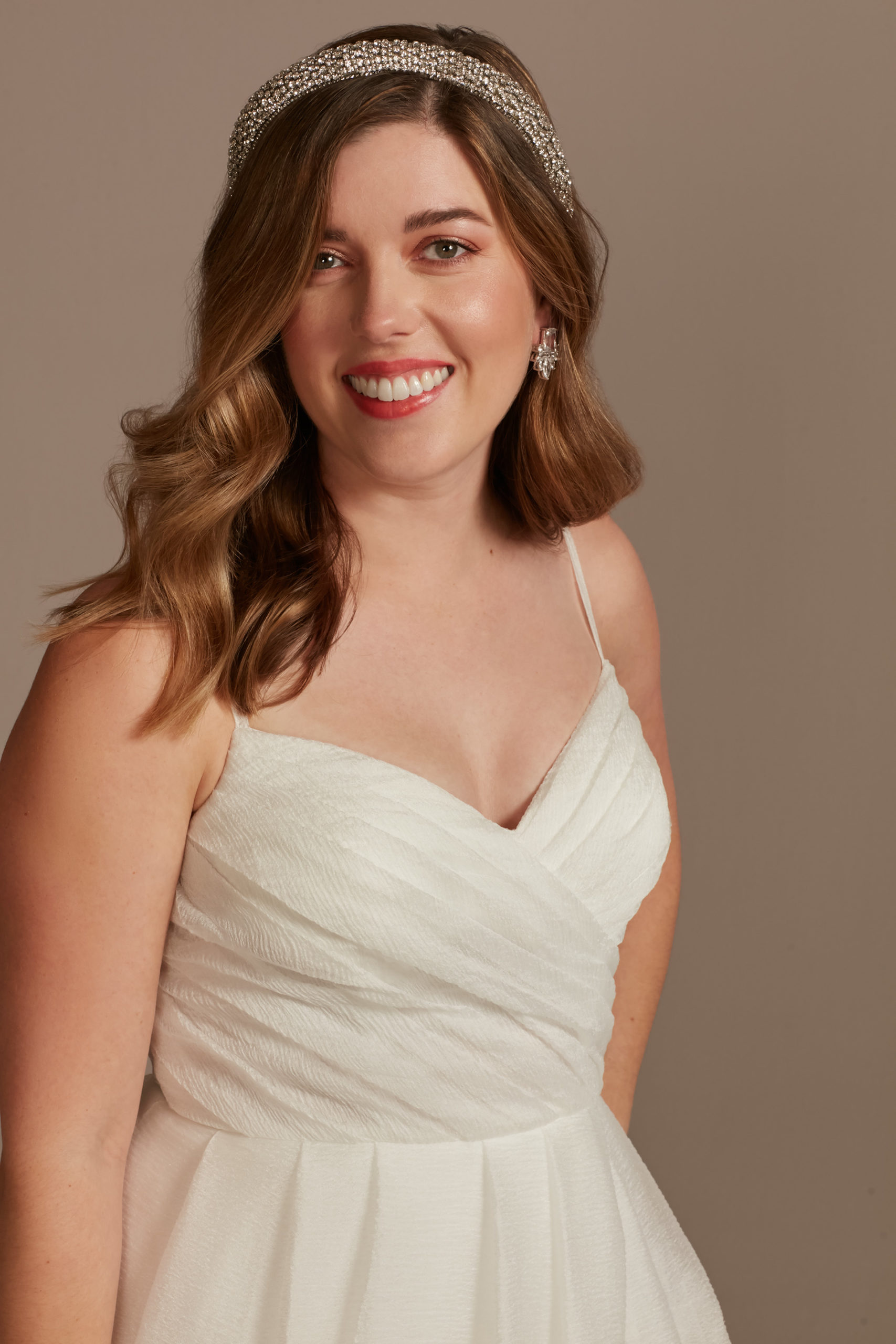 bride wearing Pleated Organza A-Line Wedding Dress with Slit