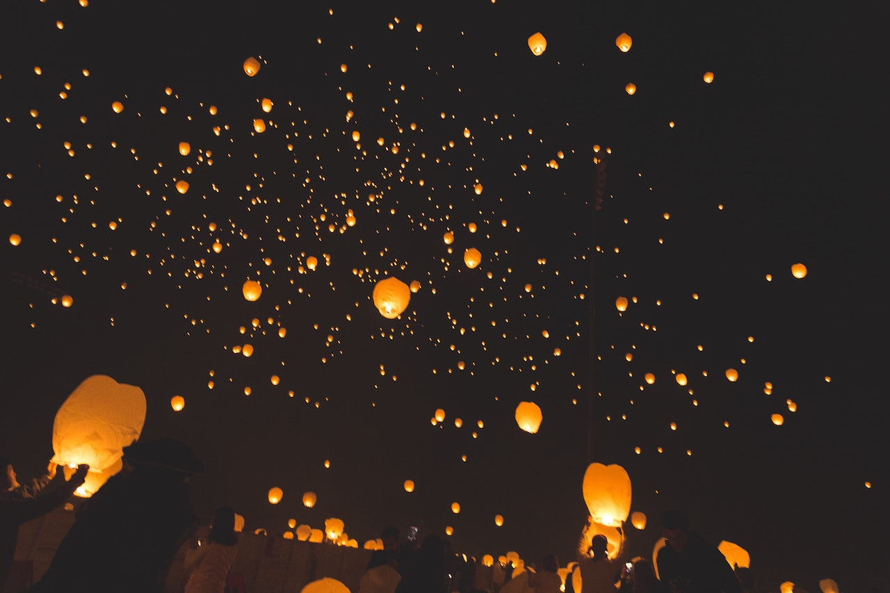 wish lanterns in the sky as a wedding day good luck charm