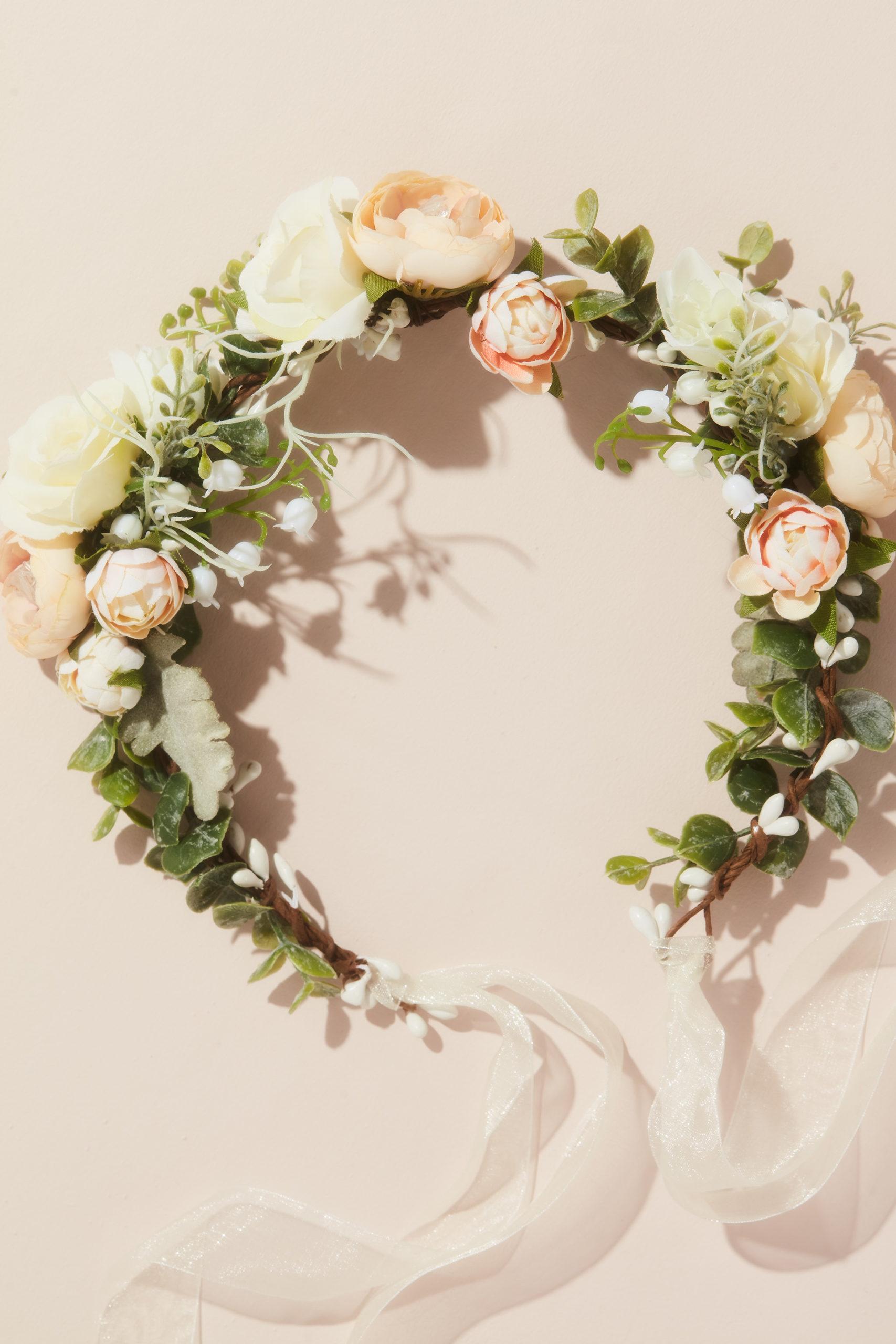Boho Faux Flower Crown with Organza Ribbon
