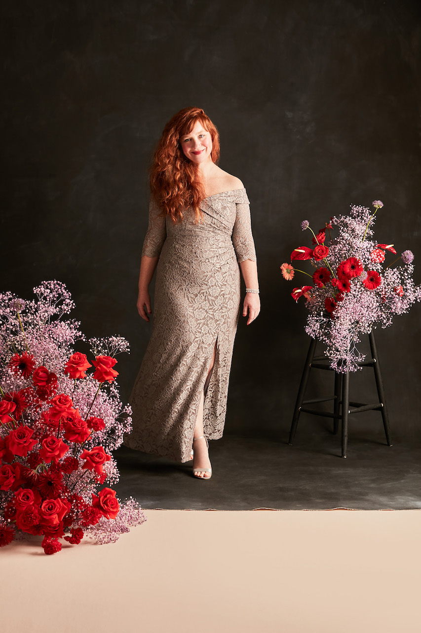 guest of spring wedding wearing off-the-shoulder V-neck ruched lace gown