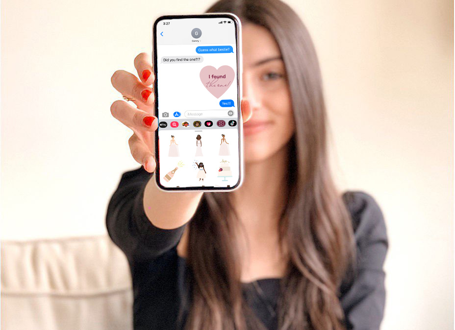 woman holding iPhone with BrideMojis GIFs in a text message