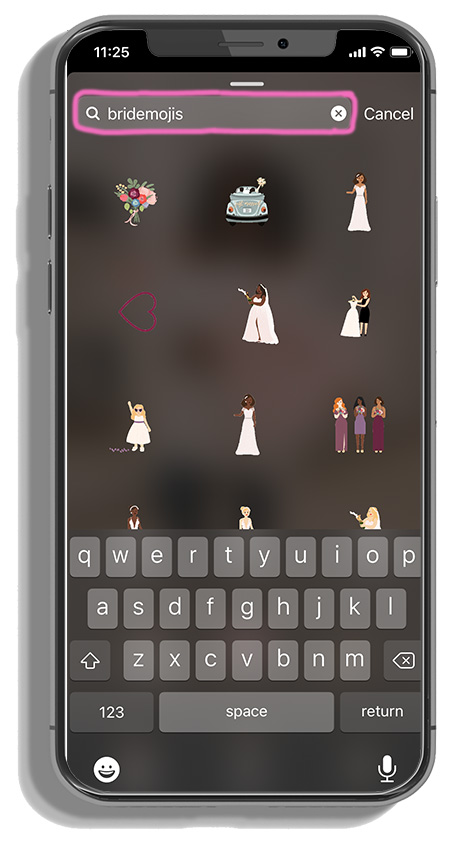 searching bridesmojis within instagram stories