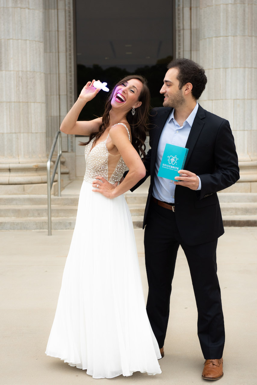 bride and groom with teeth whitening kit