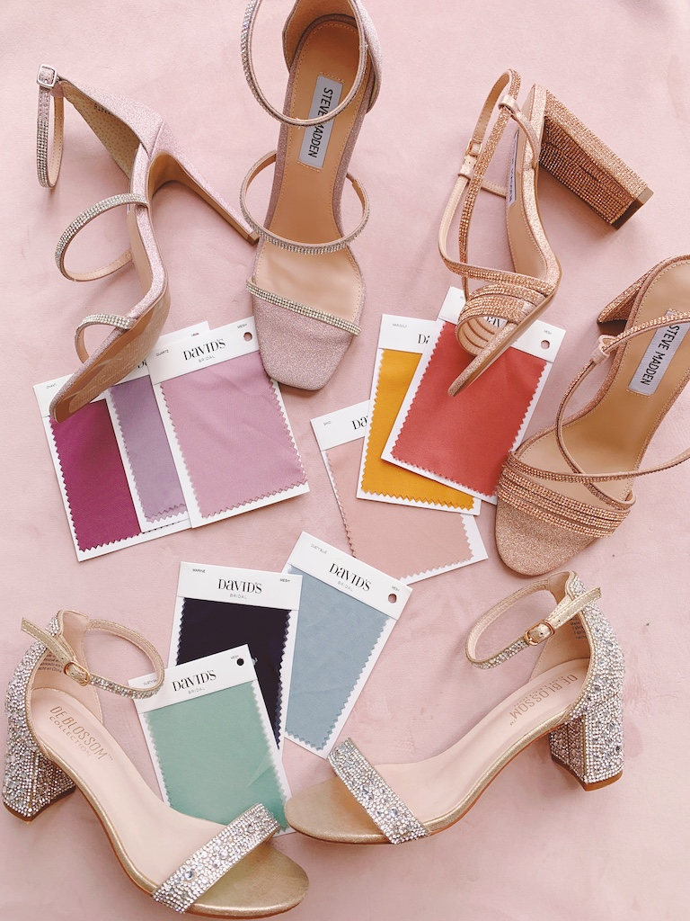 shoes and bridesmaid color swatches