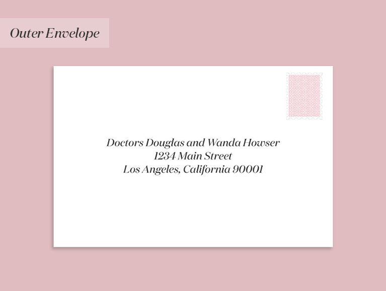 wedding invitation to a couple where they are both doctors
