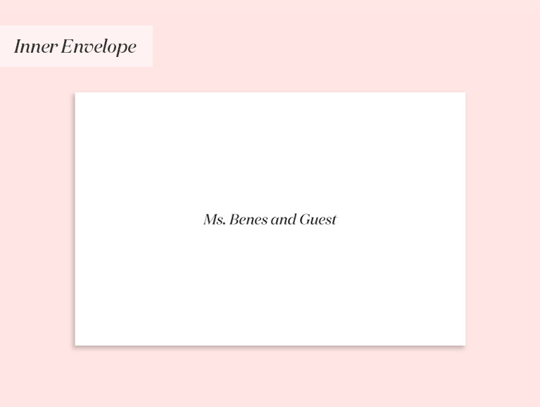 wedding invitation addressed to a single person (with a guest)