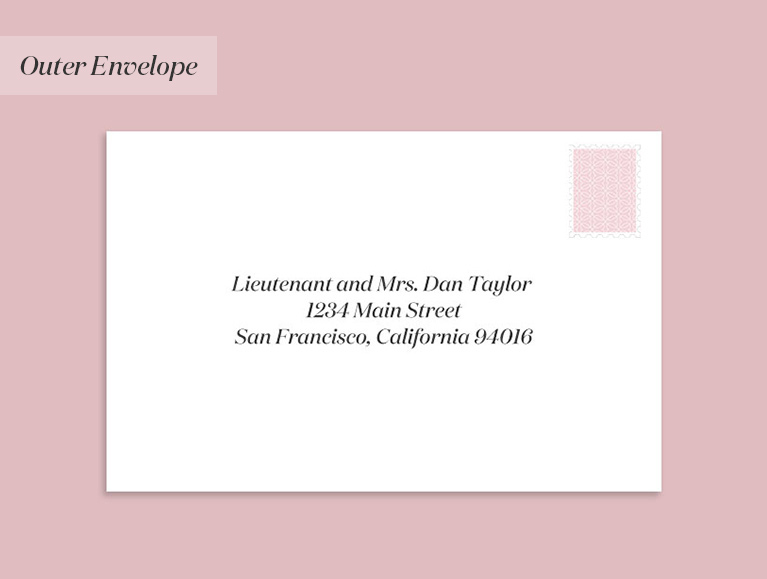 wedding invitation addressed to a divorced woman (with a guest)