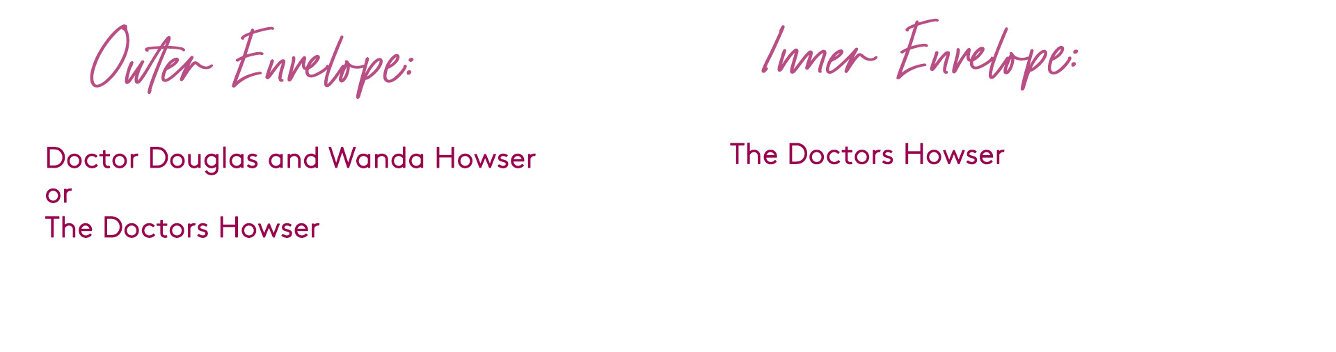 how to address wedding invitation to a couple where they are both doctors
