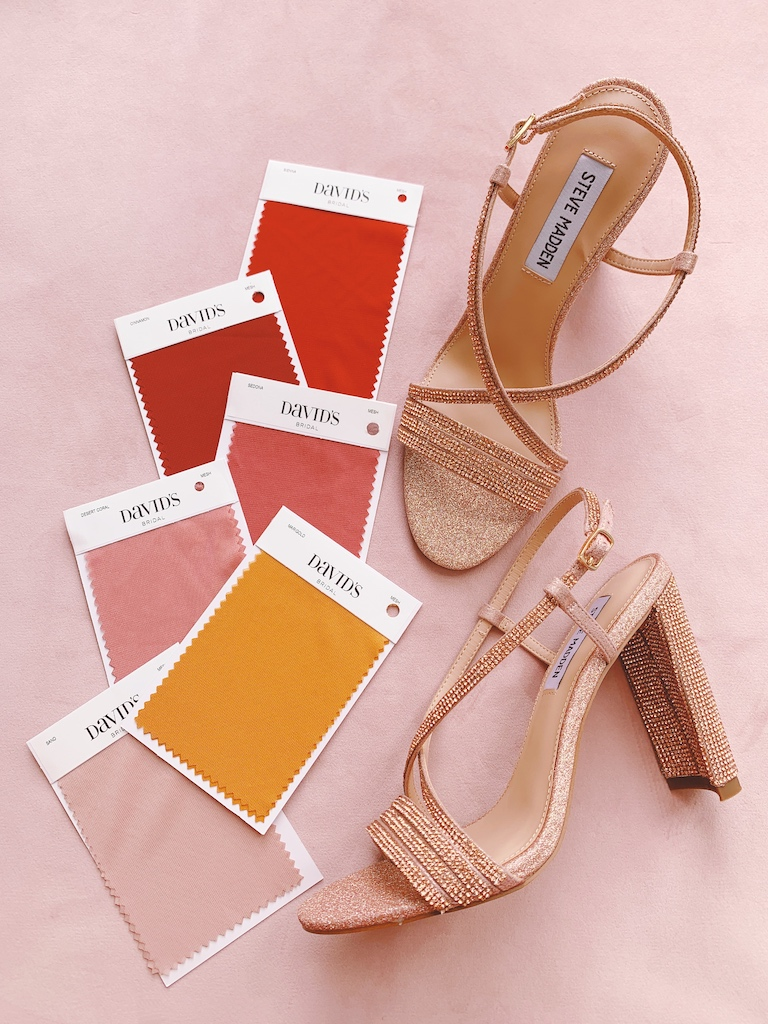 sunset bridal party palette shoe pairing