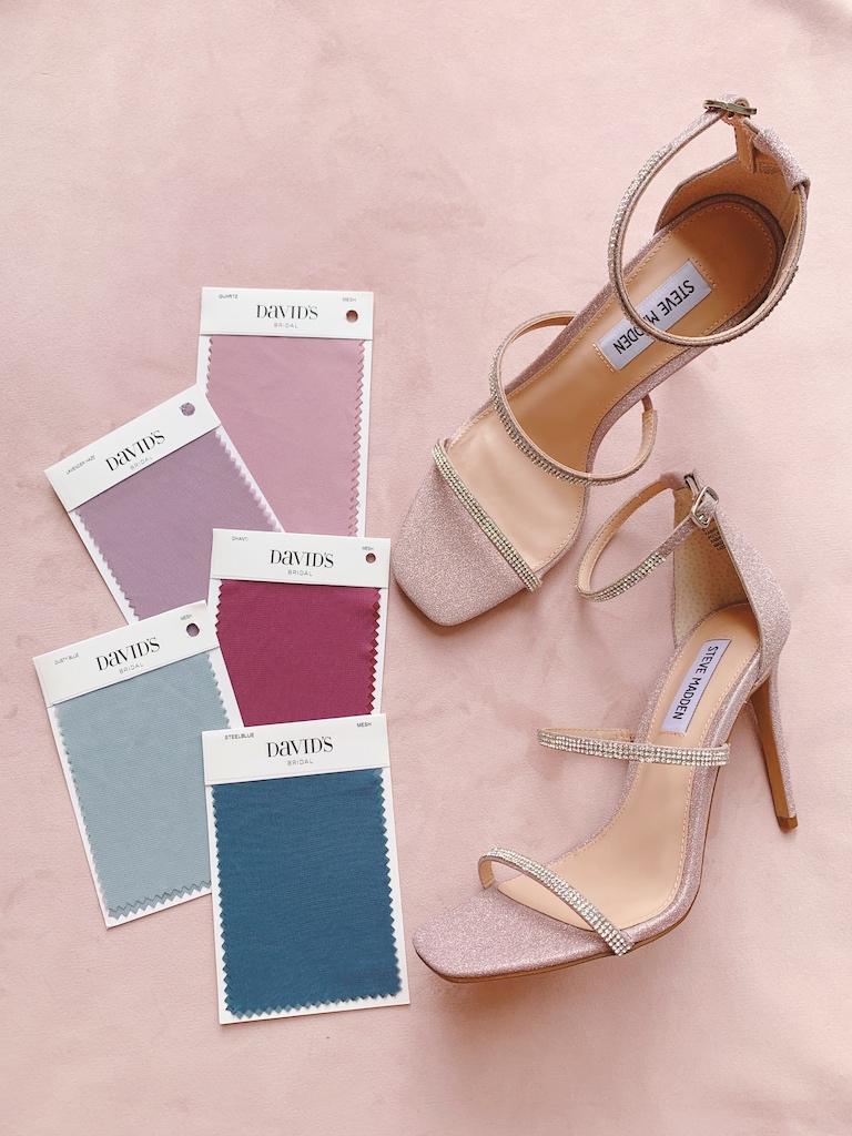 dusty tone bridesmaid color shoe pairings