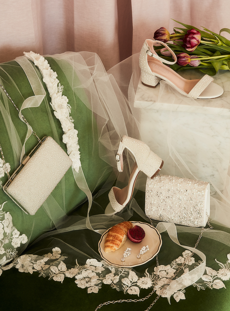 pearl and crystal coordinated wedding accessories