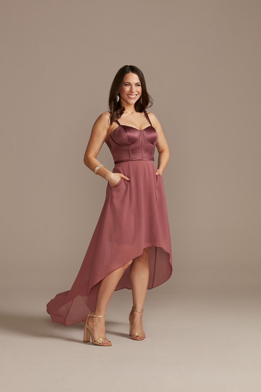 pink high low dress for casual wedding dress code