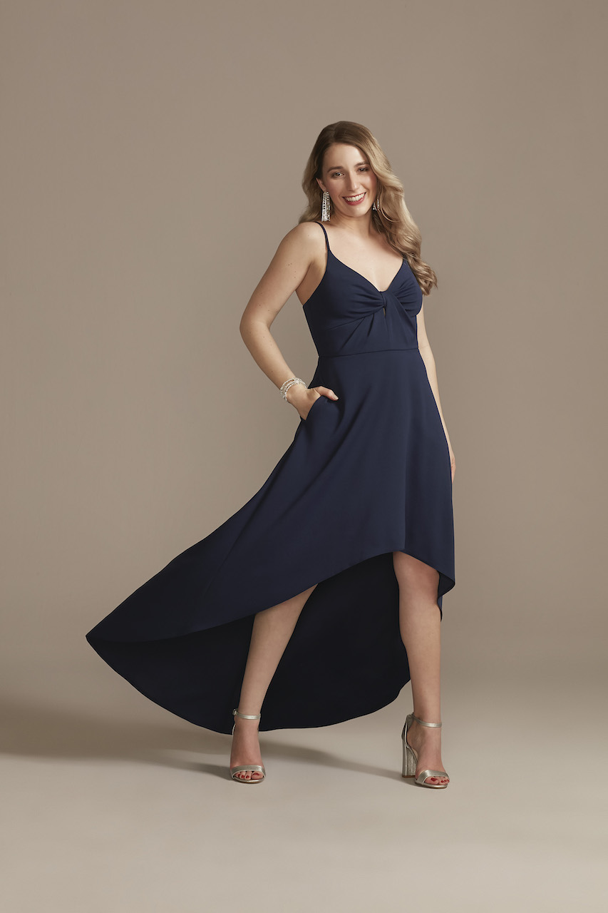 navy high low dress for casual wedding dress code