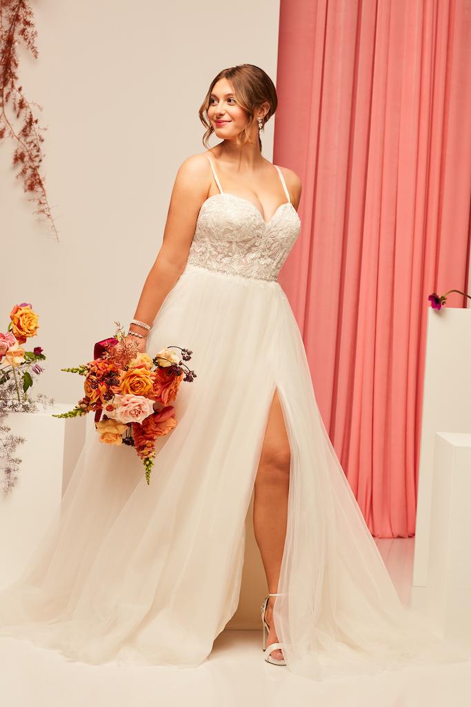 bride wearing sexy 2021 fall wedding dress