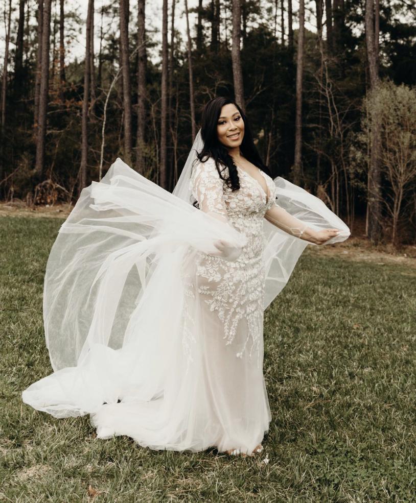 bride in sexy bohemian wedding dress