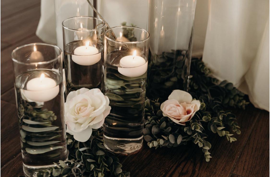 sexy bohemian wedding candle decor