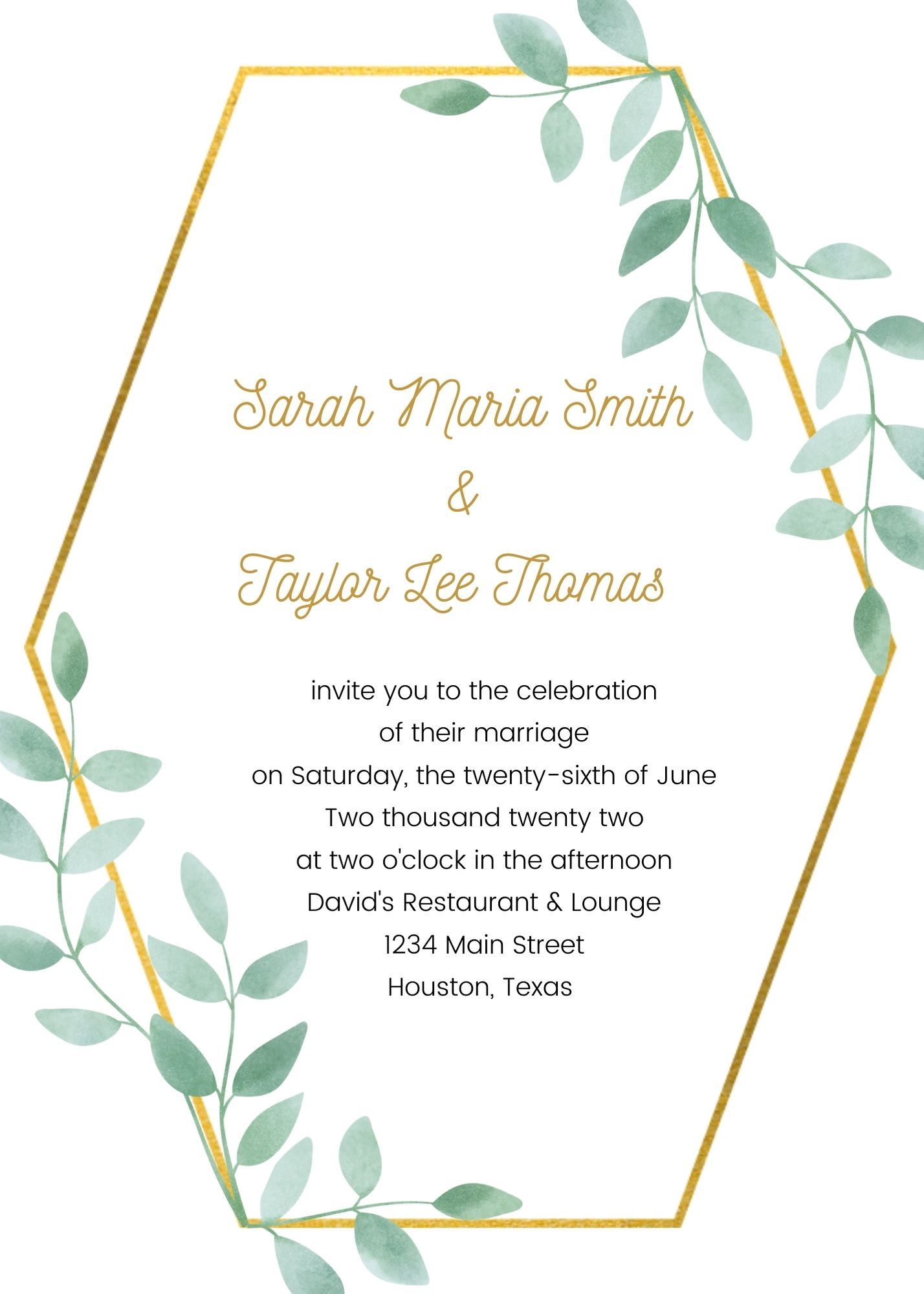 invitation for wedding hosted by the couple