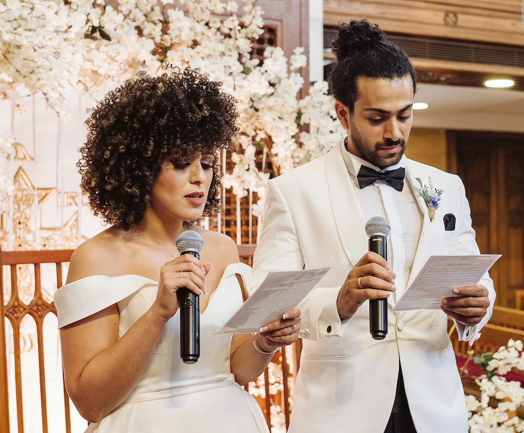 bride and groom exchanging vows at romantic & intimate wedding in egypt