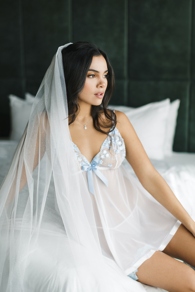 bride in sexy lingerie from the exclusive galina signature collection