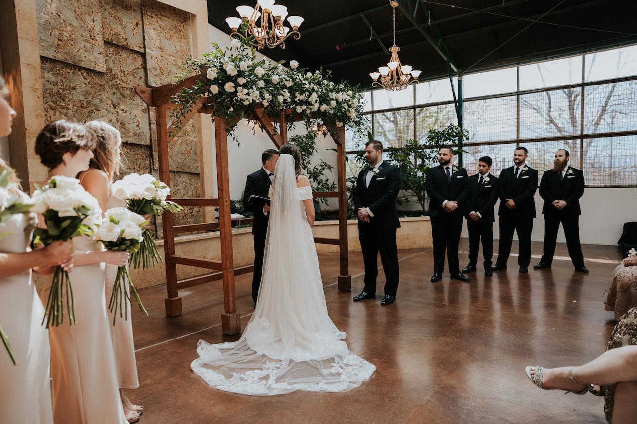 simple and elegant greenhouse wedding ceremony