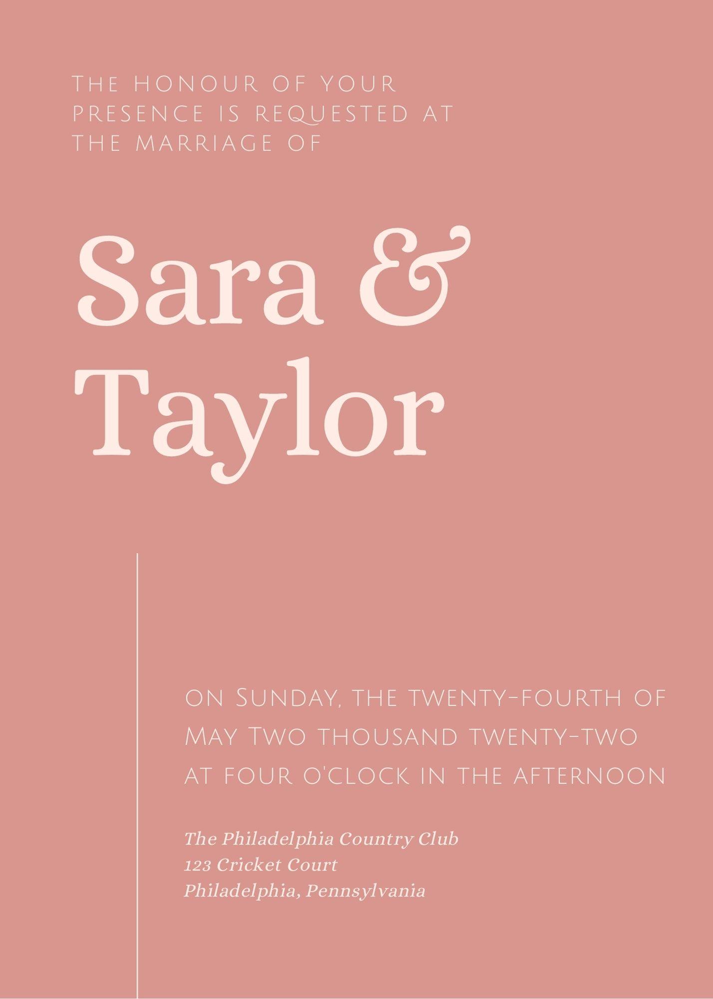 wedding invitation with no designated host