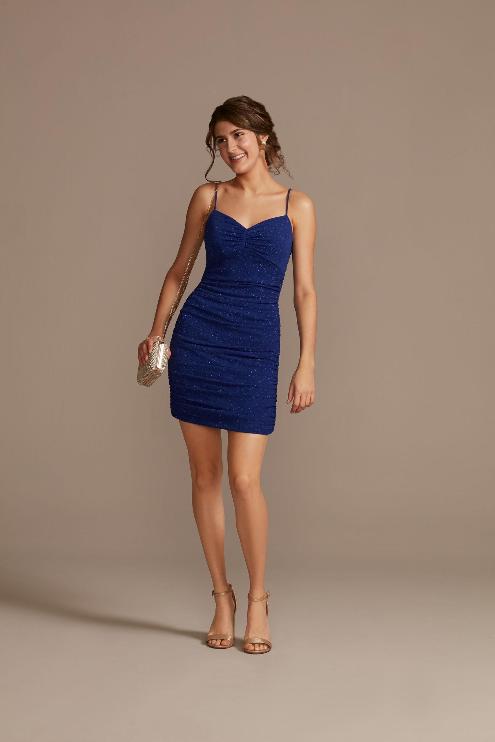 blue mini dress with ruching