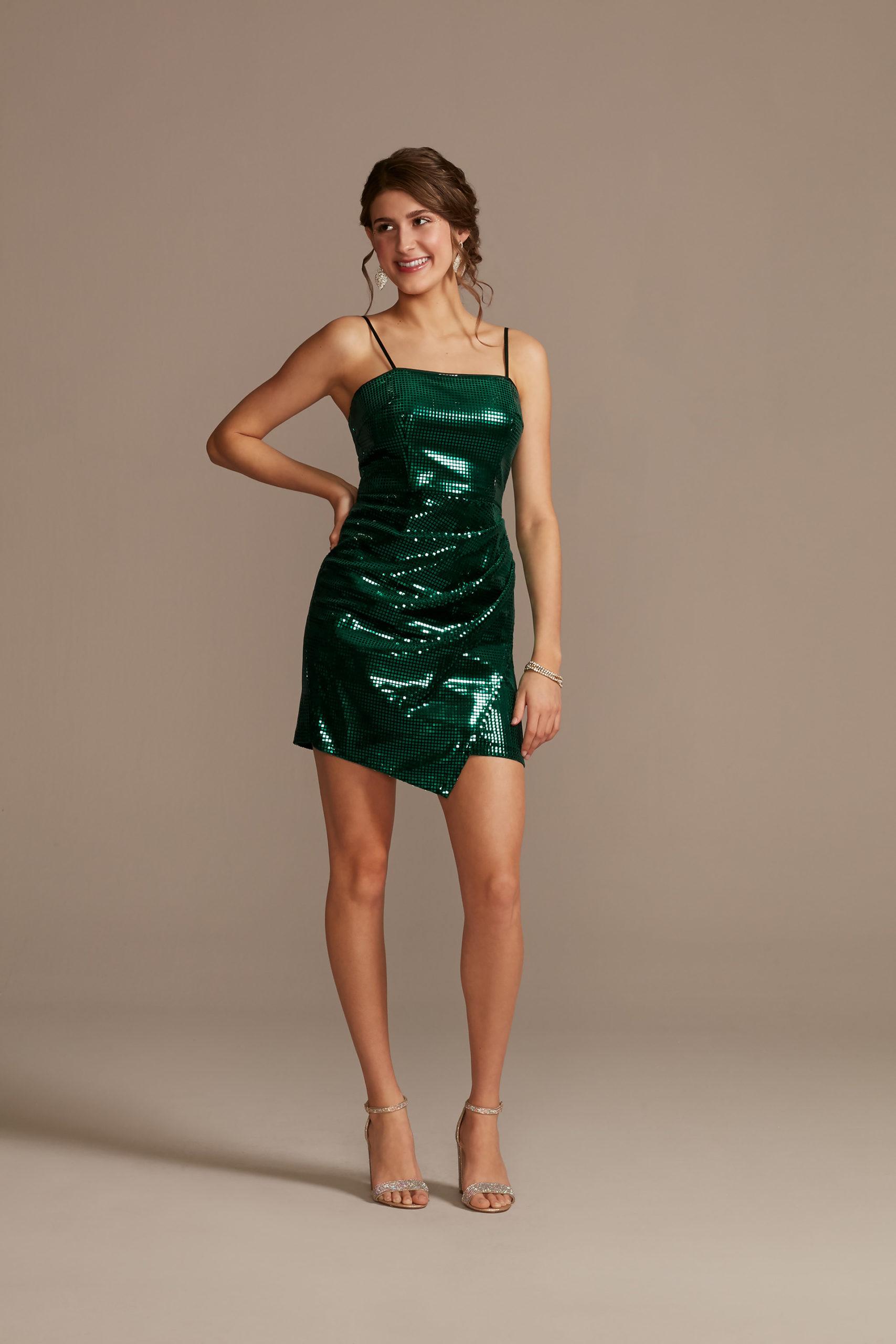 emerald green sequin mini dress