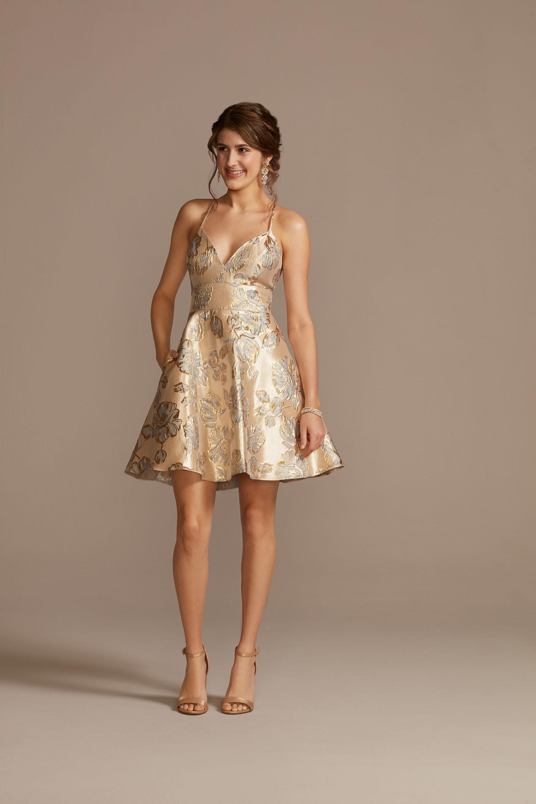 gold skater skirt dress