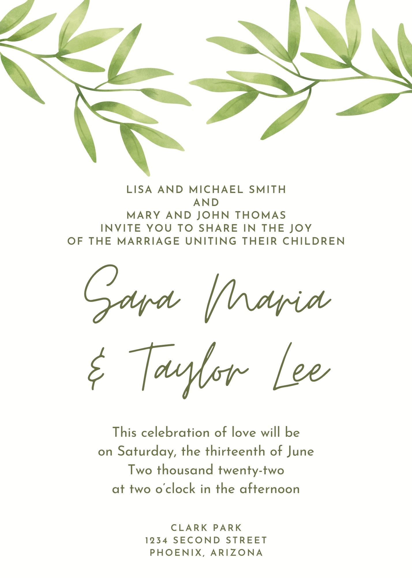 wedding invitation for wedding hosted by both sets of parents