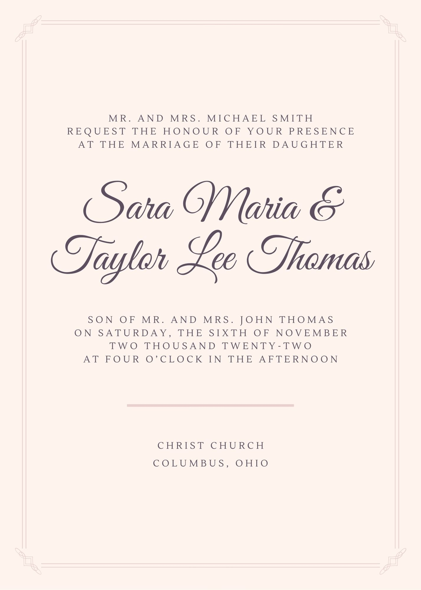 wedding invitation for wedding hosted by the bride's parents
