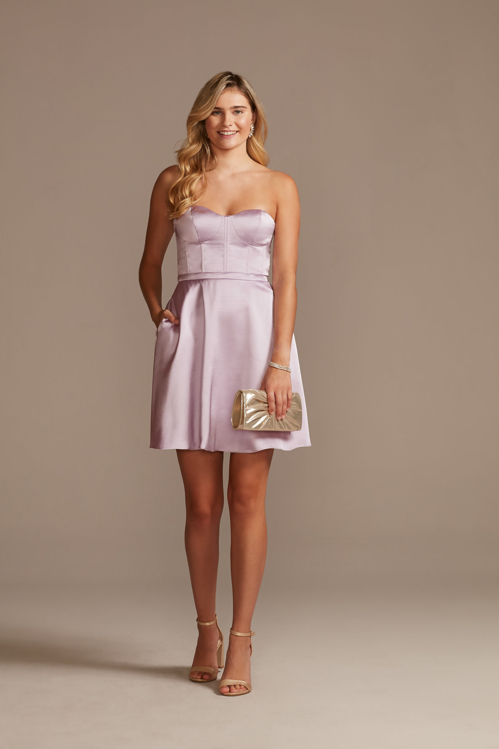 satin purple homecoming dress with corset bodice