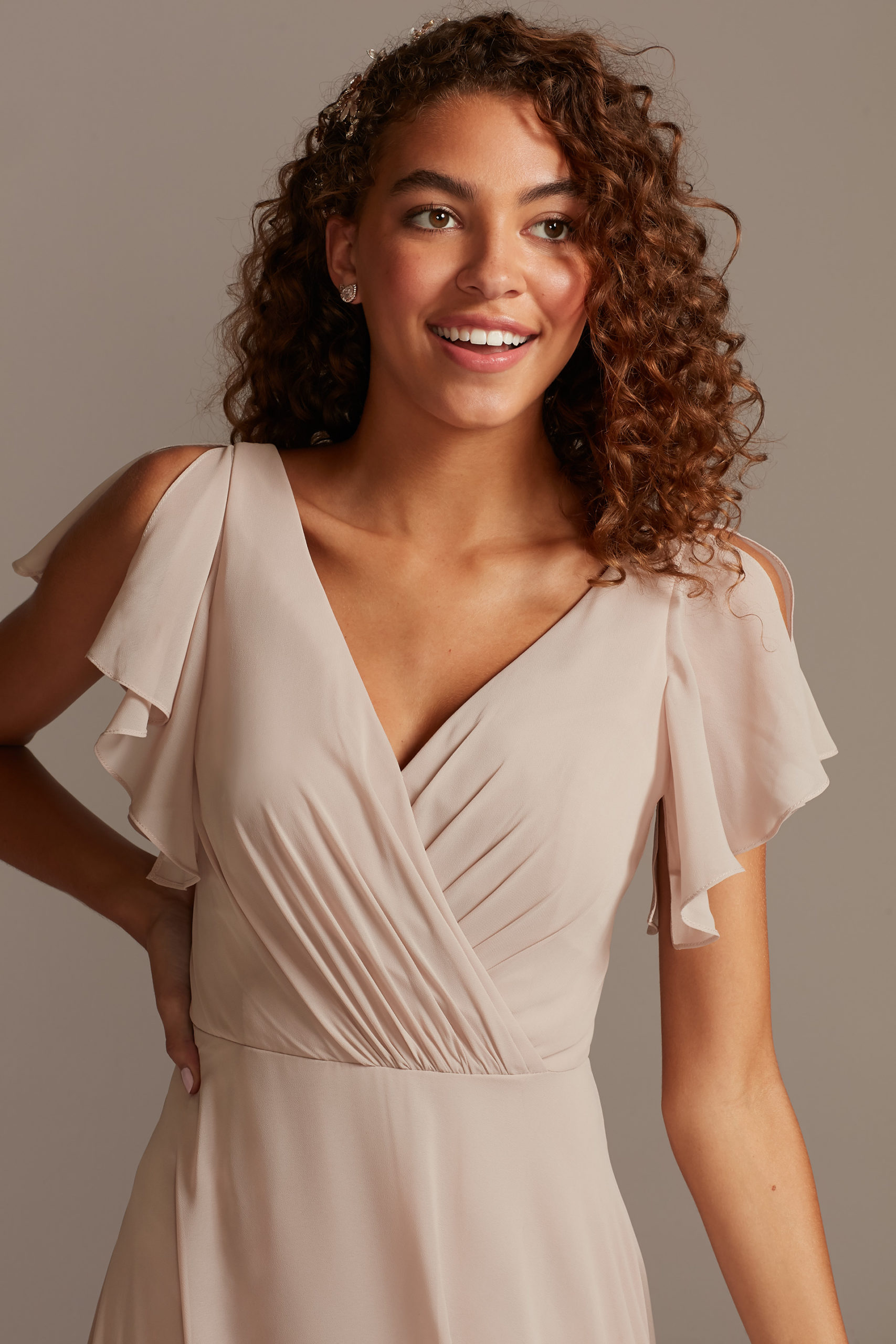 bridesmaid dress with flutter sleeves