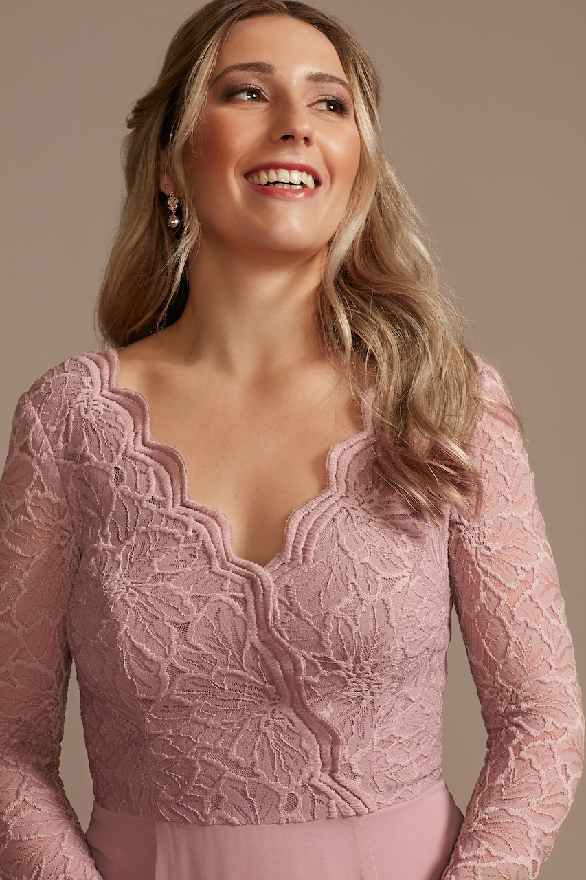 bridesmaid dress with lace long sleeves