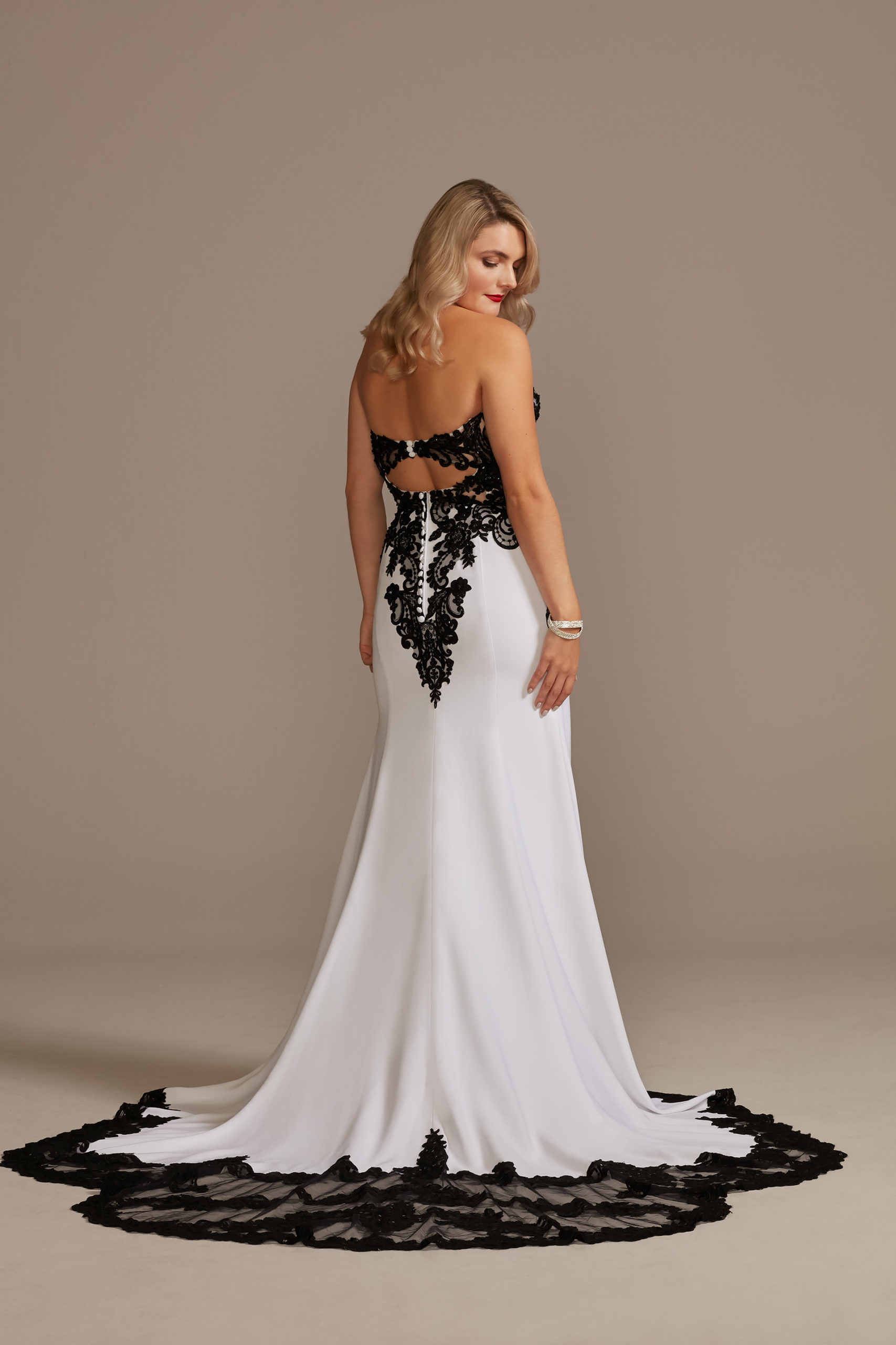 unconventional wedding dress with black lace