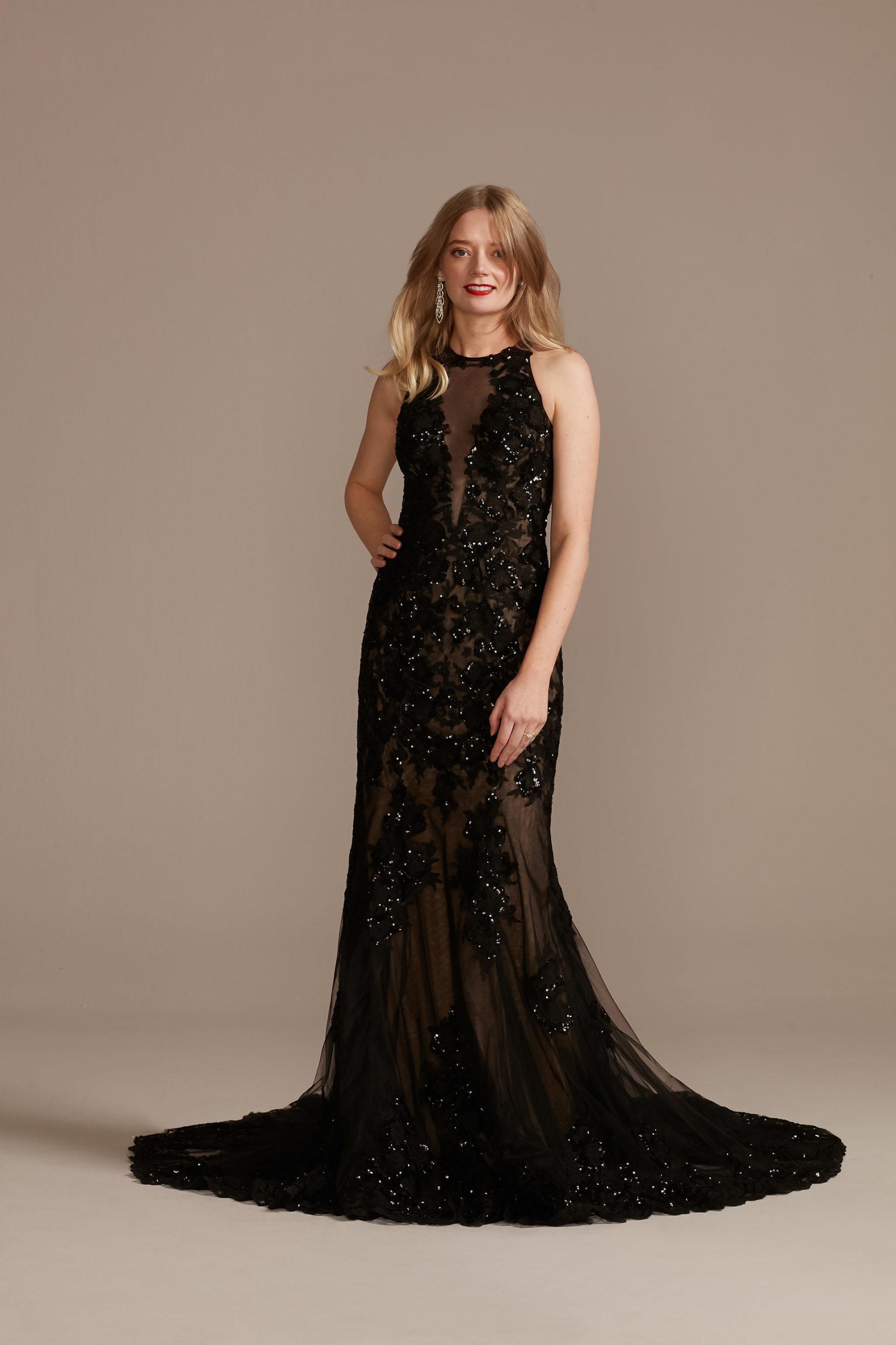 unconventional black mermaid wedding dress