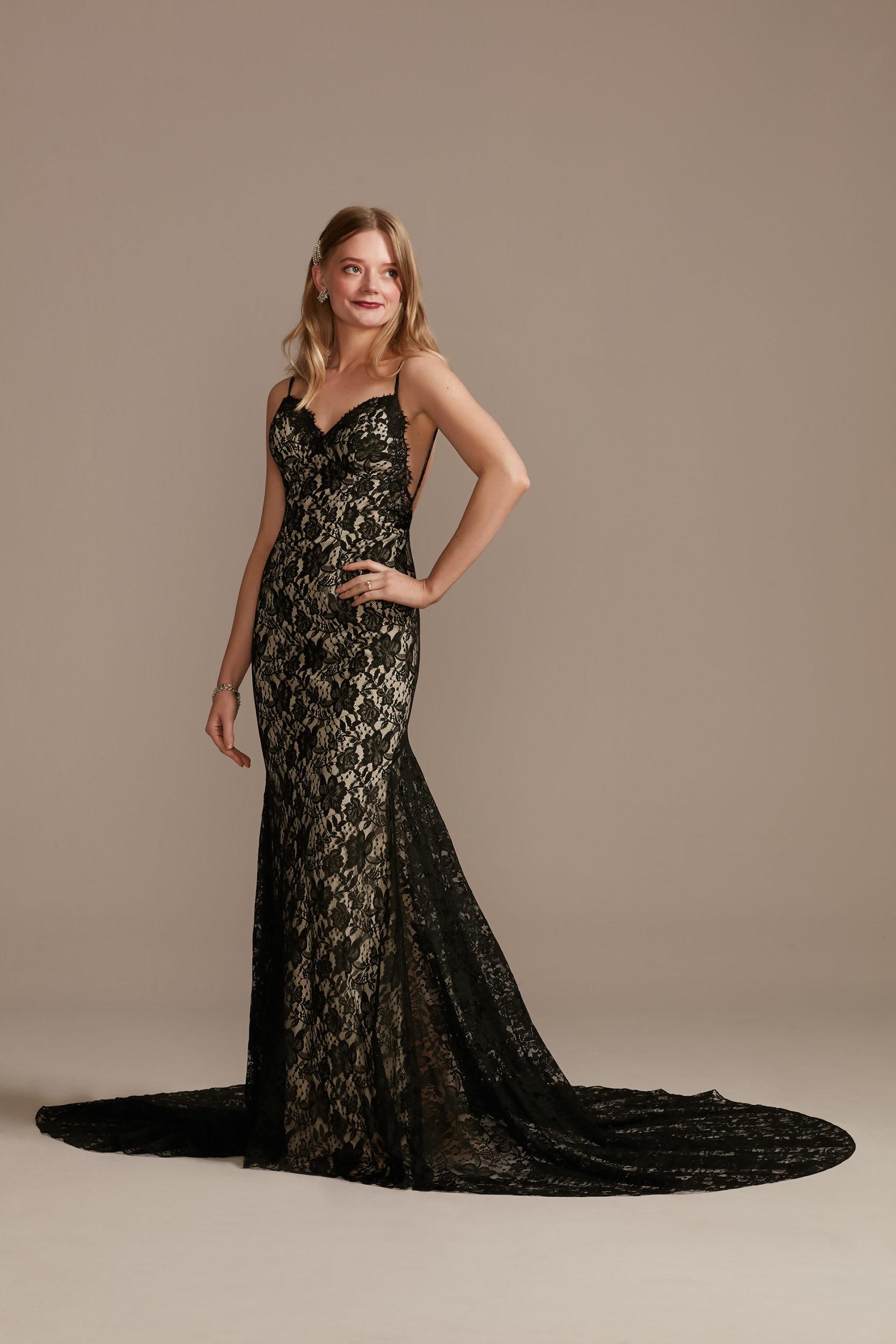 unconventional black lace wedding dress