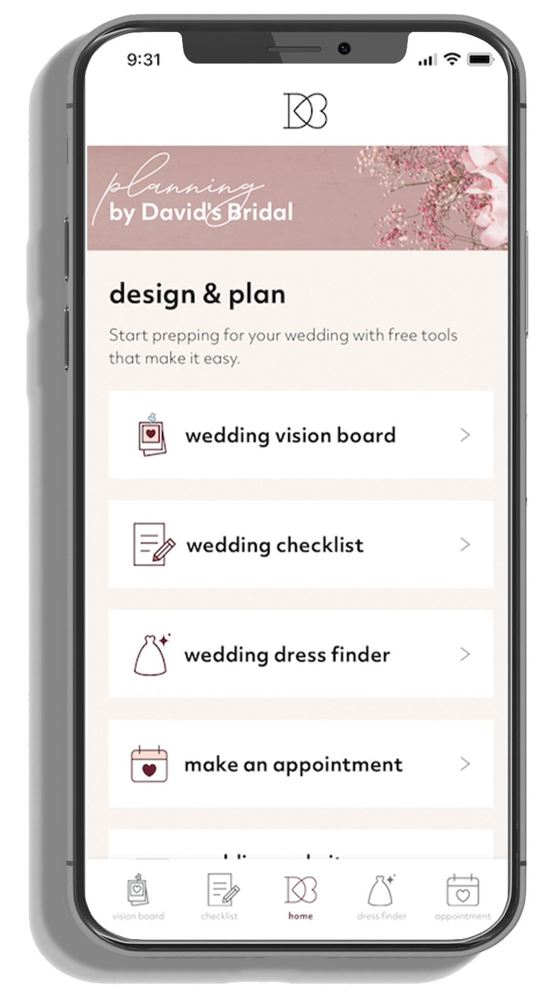 David's Bridal wedding planning app