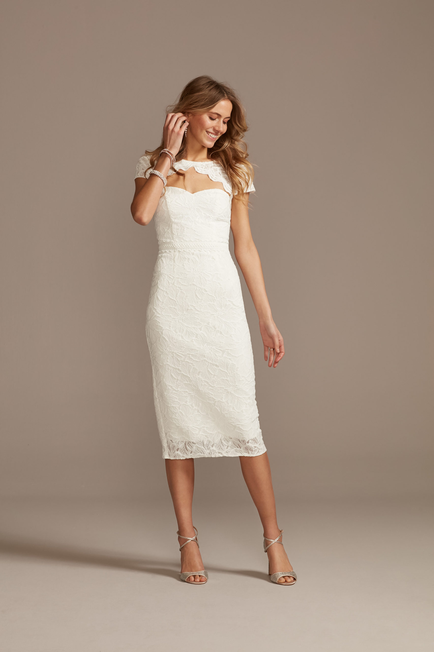 Cap Sleeve Lace Dress with Scalloped Keyhole