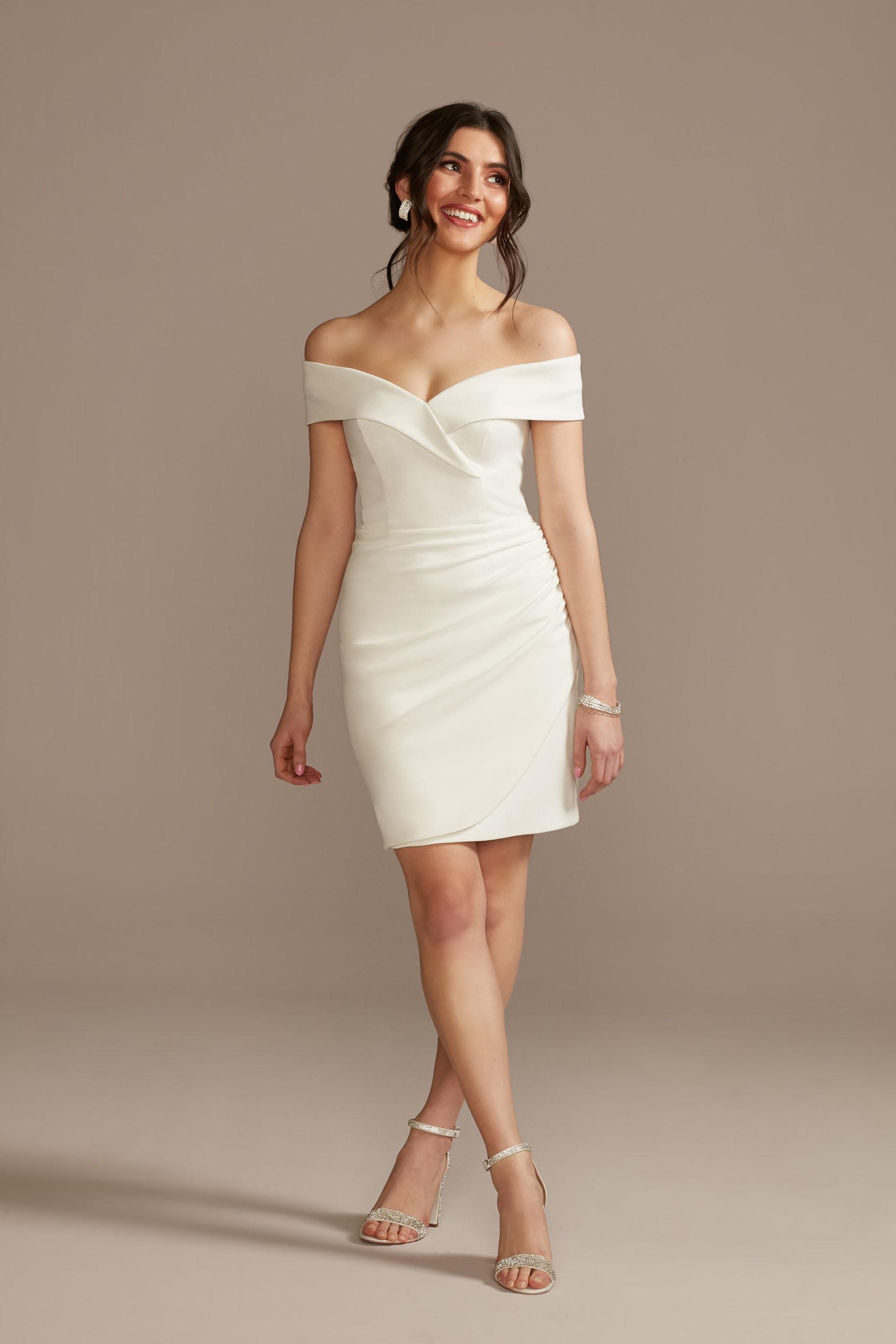 Short Off Shoulder Cuff Neckline Crepe Dress