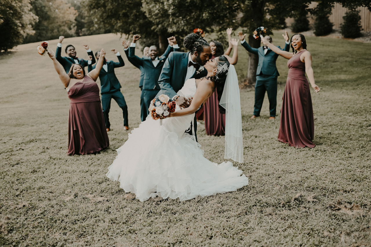 simple and elegant fall wedding bridal party