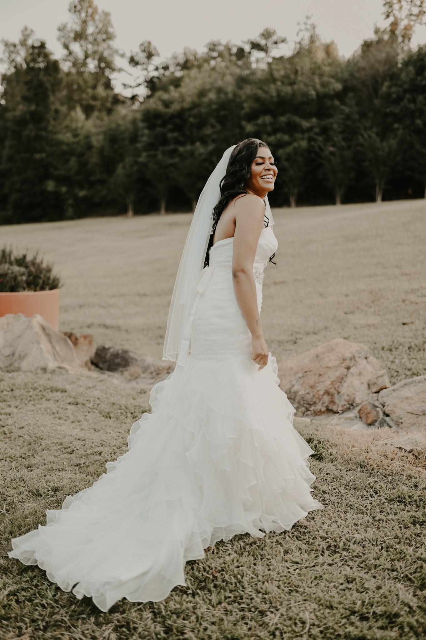 bride wearing mermaid style wedding dress