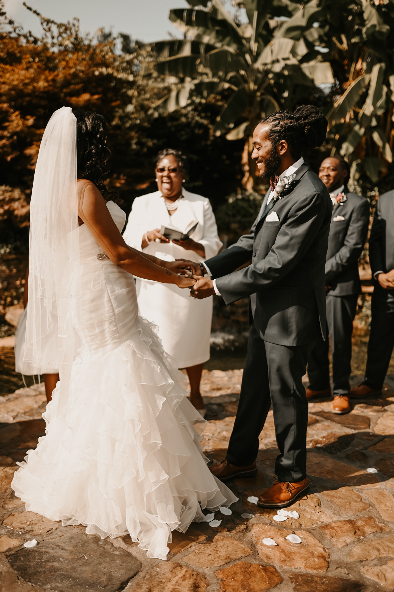 bride and groom at simple and elegant fall wedding